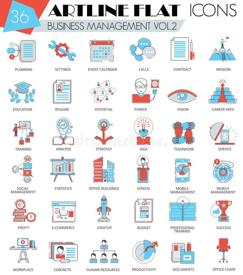 Wektorowe zarządzanie przedsiębiorstwem konturu artline mieszkania linii ultra nowożytne ikony dla sieci i apps royalty ilustracja