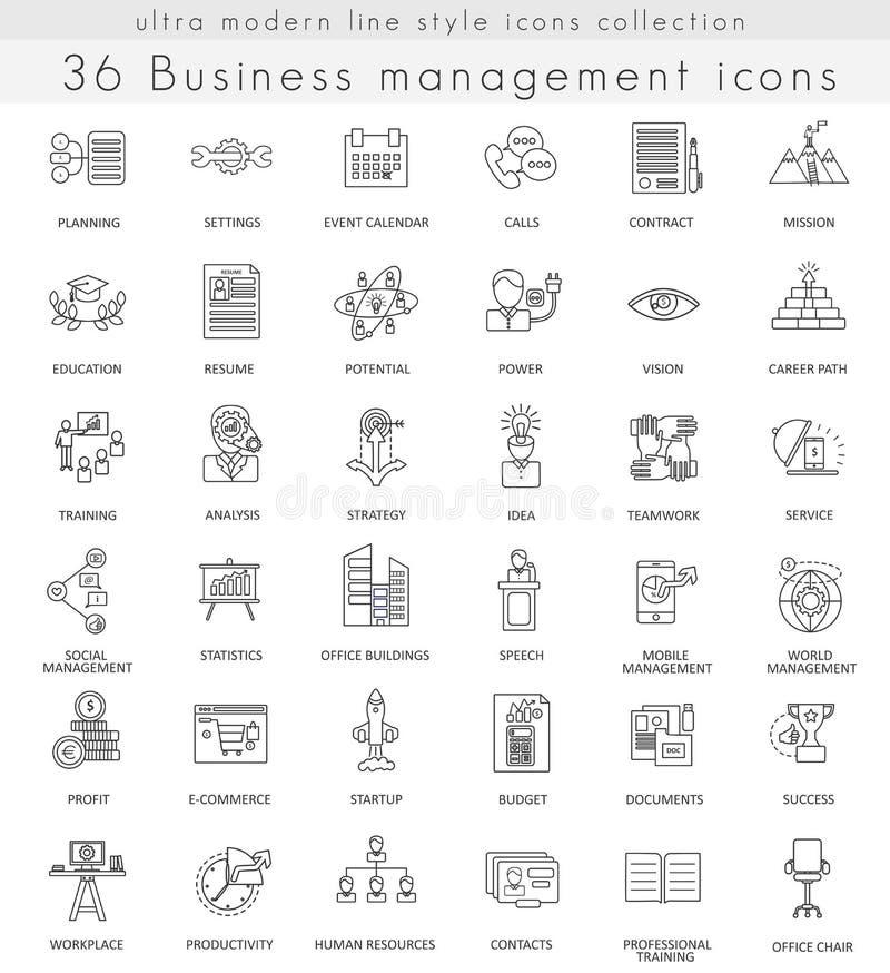 Wektorowe zarządzanie przedsiębiorstwem konturu linii ultra nowożytne ikony dla sieci i apps royalty ilustracja