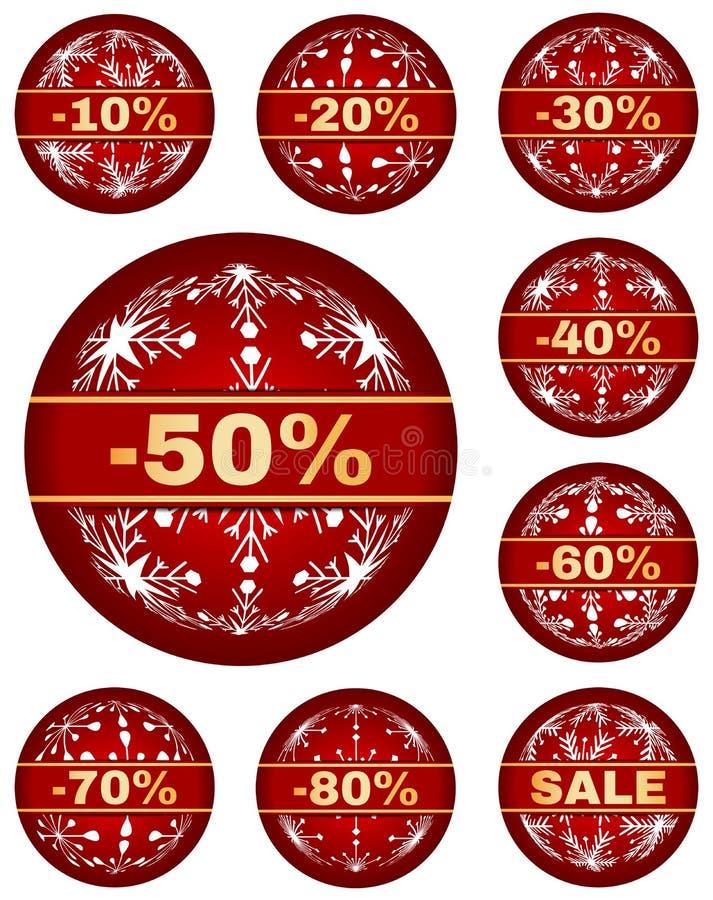 Wektorowe zimy sprzedaży etykietki z 10, 80 procentów tekstem - ilustracja wektor