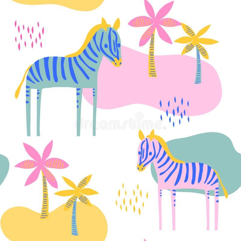 Wektorowego ślicznego zebry końskiego dzikiego zwierzęcia bezszwowy wzór royalty ilustracja