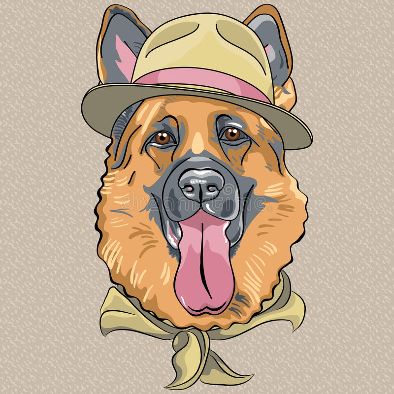 Wektorowego śmiesznego kreskówka modnisia psa Niemiecka baca royalty ilustracja