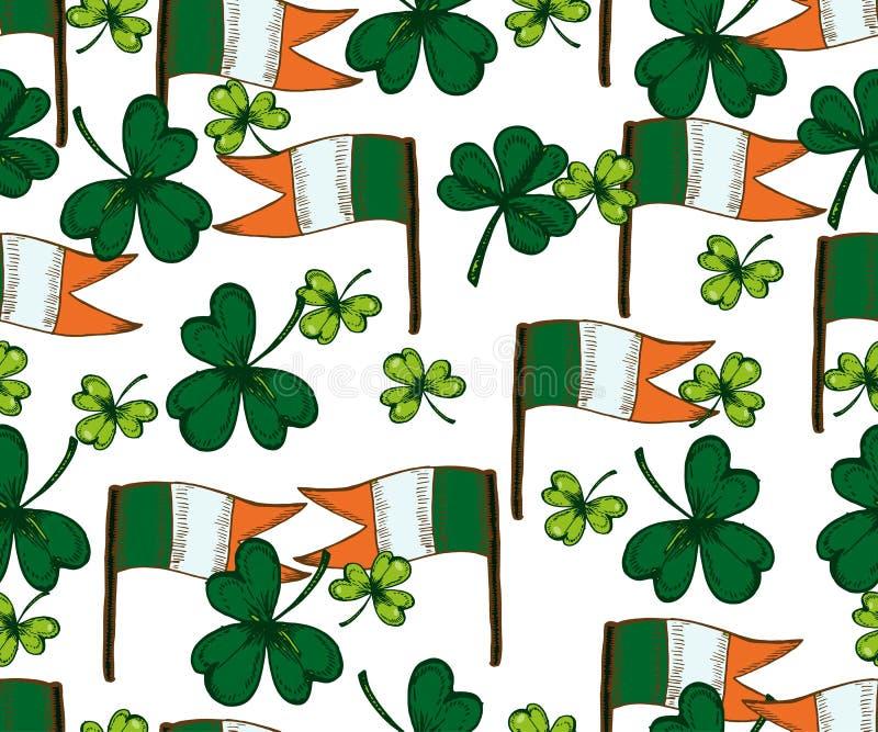 Wektorowego świętego Patricks dnia bezszwowy wzór Koniczyny, shamrock, ilustracji