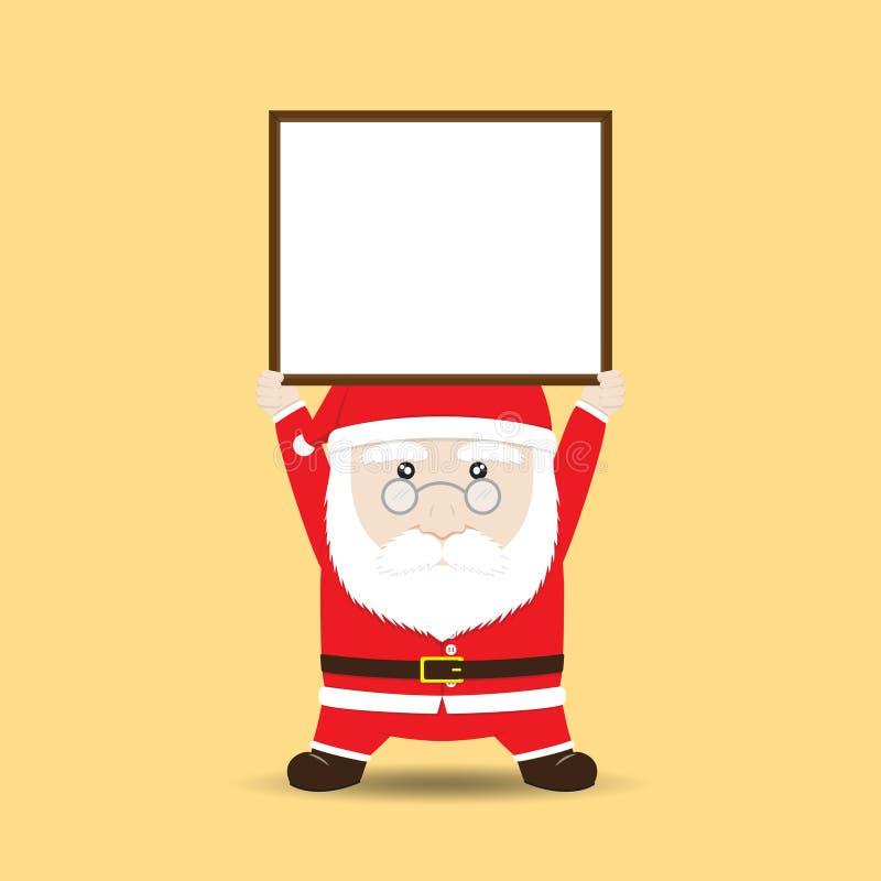 Wektorowego Święty Mikołaj mienia Pusty sztandar lub znak ilustracji