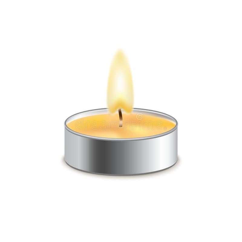 Wektorowego świeczka wosku odosobniona dekoracja Blasku świecy płomień dla świętowania Rozjarzony realistyczny świeczki światło n ilustracji