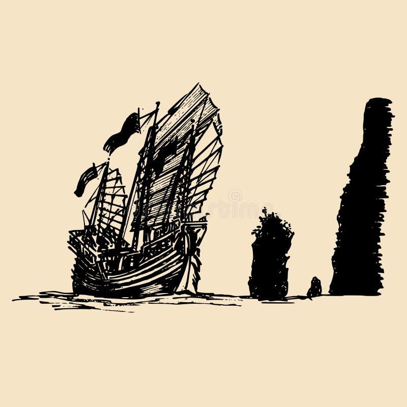 Wektorowego żeglowania dżonki chiński statek w morzu w atramentu kreskowym stylu Ręka kreślił żeglować wschodnią łódź ilustracji