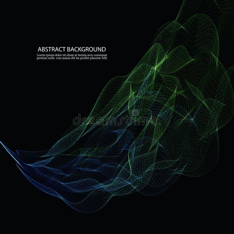 Wektorowego Abstrakcjonistycznego błyszczącego koloru błękitnej i zielonej fala projekta element na ciemnym tle royalty ilustracja