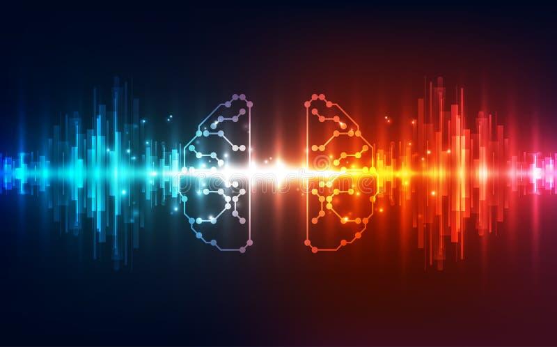 Wektorowego Abstrakcjonistycznego ludzkiego mózg obwodu futurystyczna deska, Ilustracyjna wysoka technologia cyfrowa royalty ilustracja