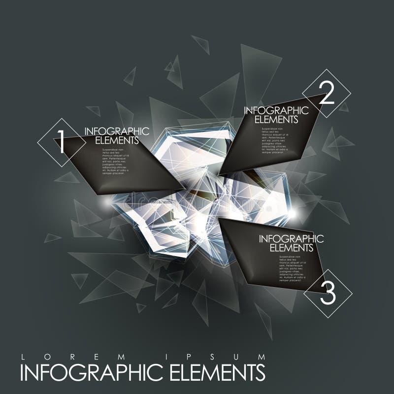 Wektorowego abstrakcjonistycznego migotanie klejnotu infographic elementy ilustracji