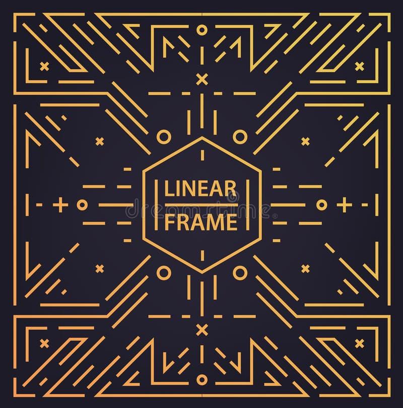 Wektorowego abstrakcjonistycznego monograma geometryczna rama, rocznika kwadratowy liniowy złoty tło Art Deco błyszczący retro st ilustracji