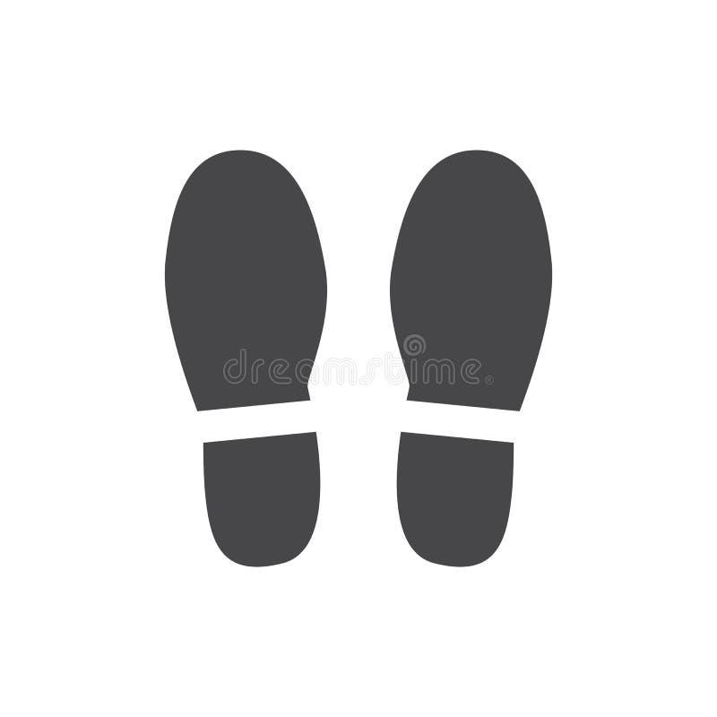 Wektorowego abstrakcjonistycznego obuwia odcisku stopego czerni płaska ikona royalty ilustracja