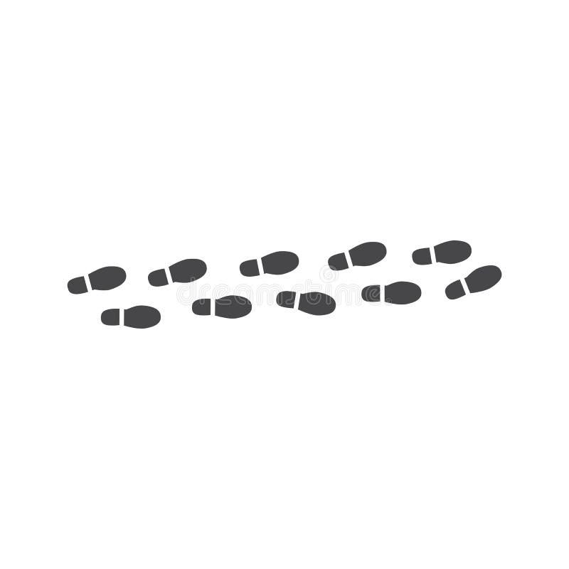 Wektorowego abstrakcjonistycznego obuwia odcisku stopego czerni płaska ikona ilustracja wektor