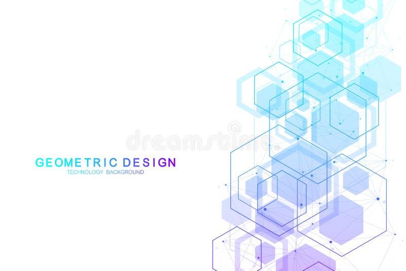 Wektorowego abstrakcjonistycznego tła heksagonalne cząsteczkowe struktury w technologii nauce i tle projektują projekt medyczny ilustracji