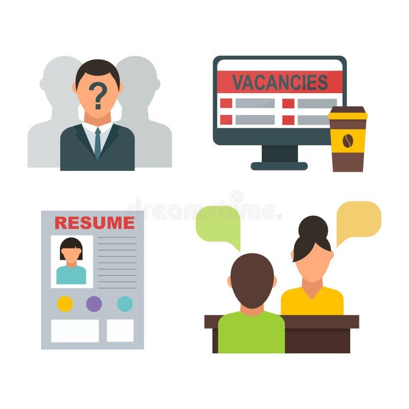 Wektorowego akcydensowej rewizi ikony ustalonego komputerowego biurowego pojęcia pracy spotkania ludzki rekrutacyjny zatrudnienio royalty ilustracja