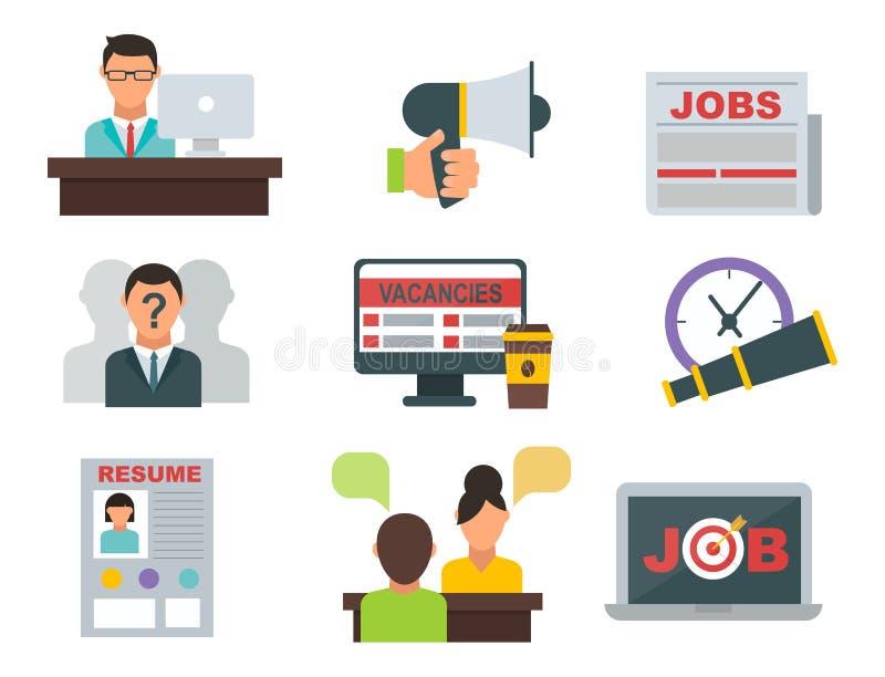Wektorowego akcydensowej rewizi ikony ustalonego komputerowego biurowego pojęcia pracy spotkania ludzki rekrutacyjny zatrudnienio ilustracji