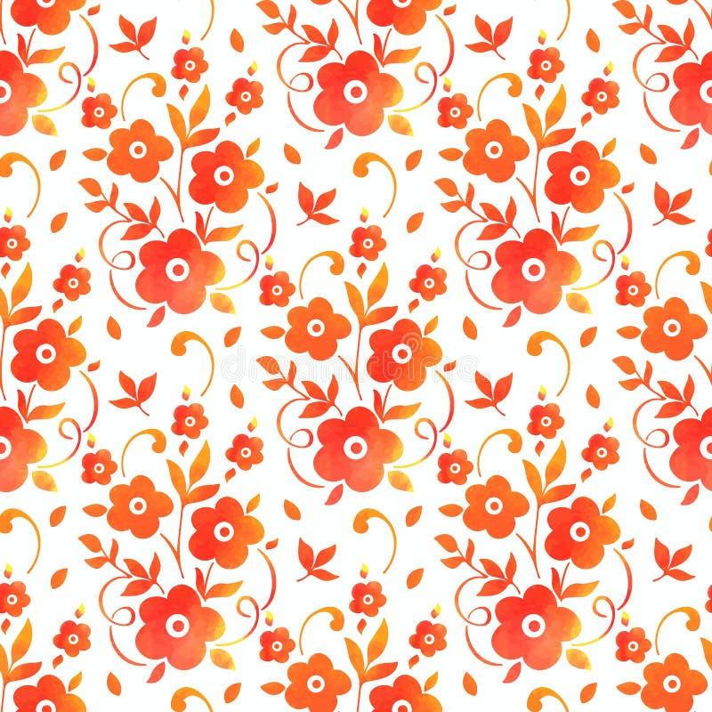 Wektorowego akwarela kwiatu bezszwowy deseniowy tło Elegancka tekstura dla tło Klasyczny luksusowy staromodny royalty ilustracja