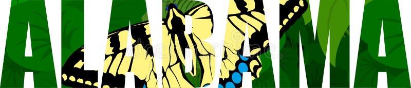 Wektorowego Alabama - amerykański stan słowo z wschodnim tygrysim swallowtail motylem i zieleni łąką ilustracja wektor