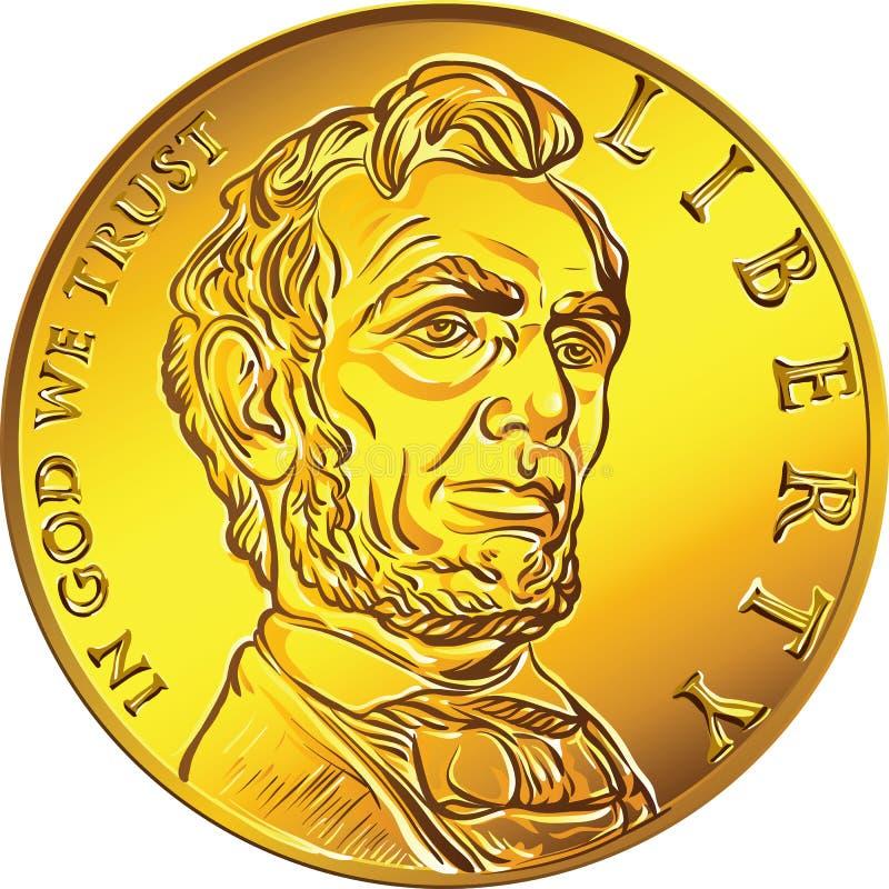 Wektorowego Amerykańskiego pieniądze złocista moneta jeden dolar ilustracji