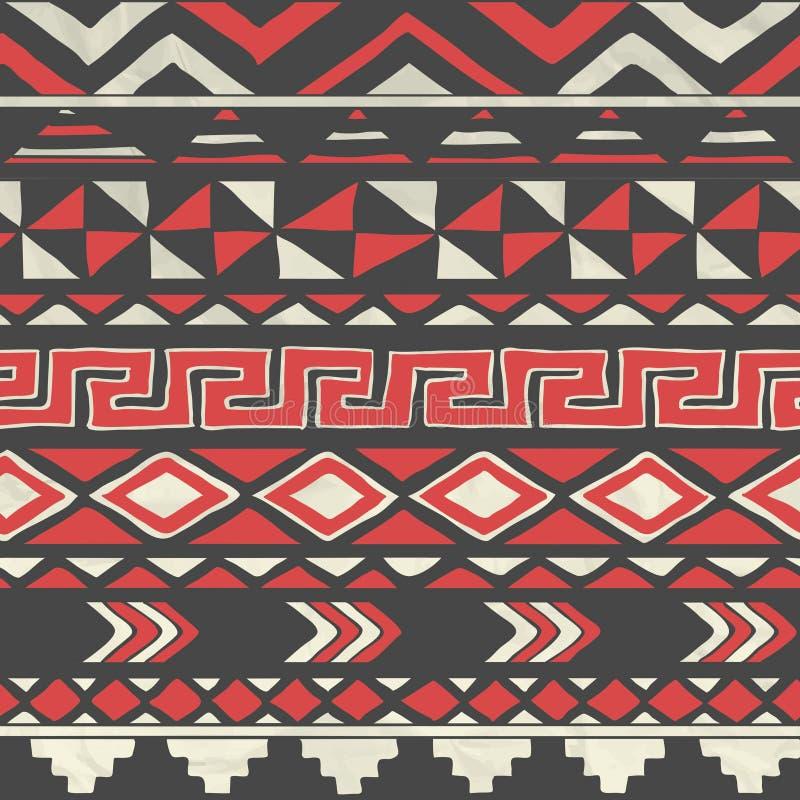 Wektorowego azteka Plemienny Bezszwowy wzór na Zmiętym royalty ilustracja