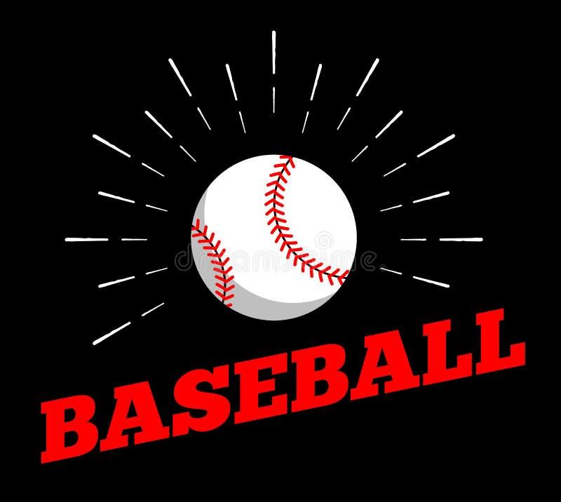 Wektorowego baseballa sporta loga ikony słońca burtst druku ręki rocznika balowa rysująca kreskowa sztuka ilustracji