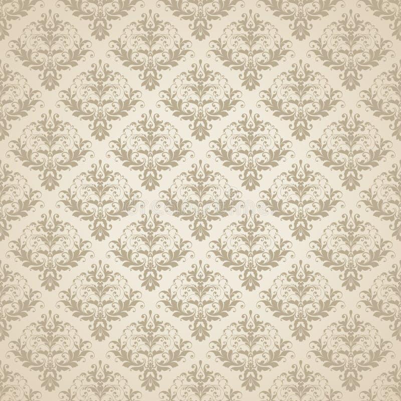 Wektorowego beżowego ślubnego tła abstrakta Bezszwowy wzór Ornamentacyjny adamaszkowy tło z eleganckim wzorem ilustracji