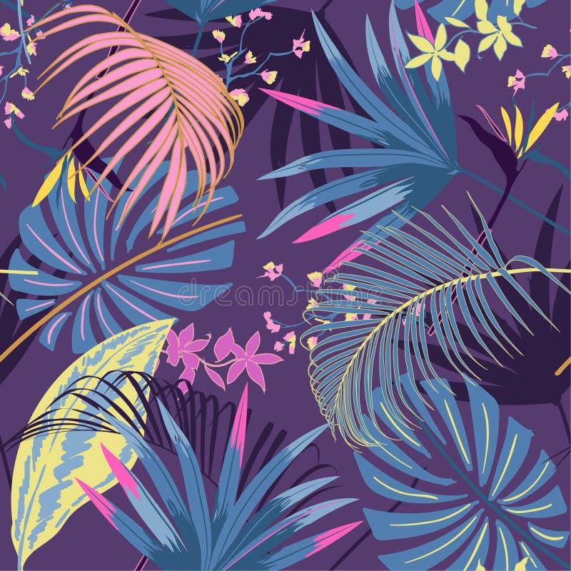 Wektorowego bezszwowego pięknego artystycznego lata pastale jaskrawy tropica ilustracji
