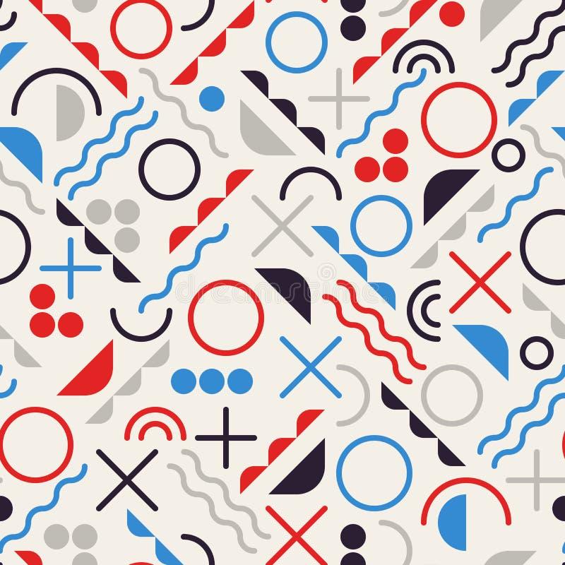 Wektorowego Bezszwowego Retro 80's bigosu Kreskowych kształtów błękita Czerwonego koloru modnisia Geometryczny wzór na Popielatym ilustracji