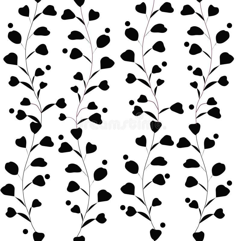 Wektorowego bezszwowego wzoru vith monochromatyczni liście, ulistnienie Botaniczny ornament ilustracja wektor