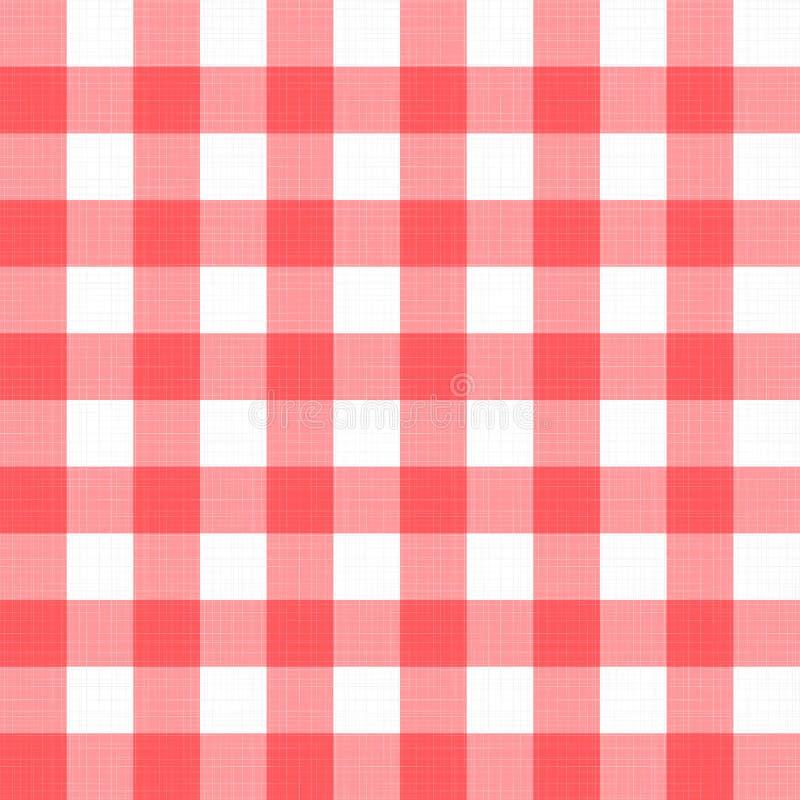 Wektorowego bieliźnianego gingham w kratkę powszechny tablecloth Bezszwowy biały czerwony płótno stołu wzoru tło z naturalną teks ilustracja wektor