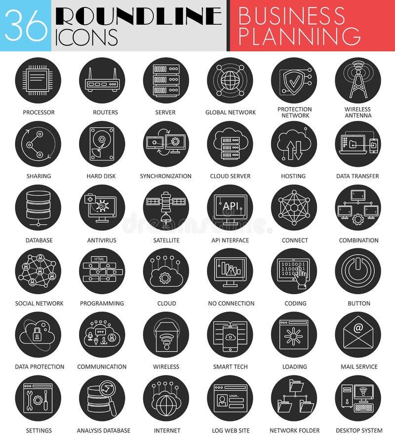 Wektorowego Biznesowego projekta planowania okręgu ikony biały czarny set Nowożytny kreskowy czarny ikona projekt dla sieci ilustracja wektor