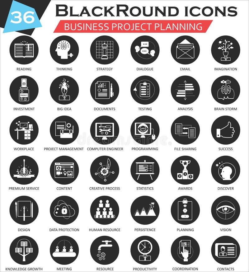 Wektorowego Biznesowego projekta planowania okręgu ikony biały czarny set Ultra nowożytny ikona projekt dla sieci ilustracja wektor