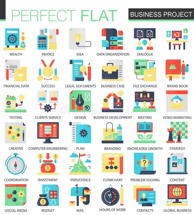 Wektorowego biznesu finanse projekta ikony powikłany płaski pojęcie Sieć projekta infographic ikony royalty ilustracja
