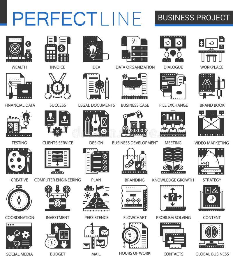 Wektorowego biznesu finanse projekta pojęcia klasyczne czarne mini ikony i infographic symbole ustawiający ilustracja wektor