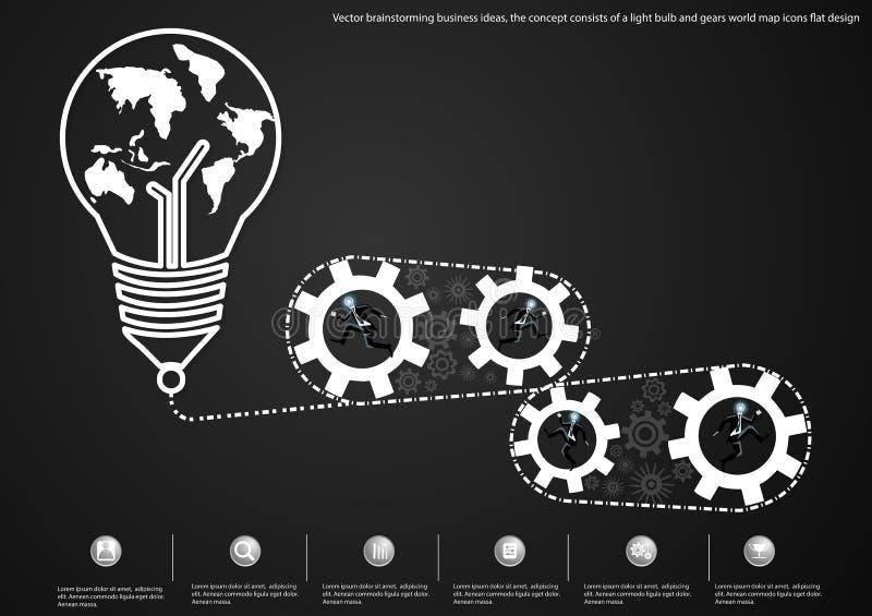Wektorowego brainstorming biznesowi pomysły pojęcie składać się z żarówka i przygotowywają światowej mapy ikon płaskiego projekt ilustracja wektor