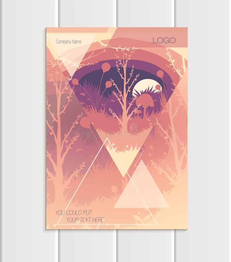 Wektorowego broszurka A5 lub A4 formata trójboków drzew lasu krajobrazu projekta abstrakcjonistycznego elementu korporacyjny styl ilustracji