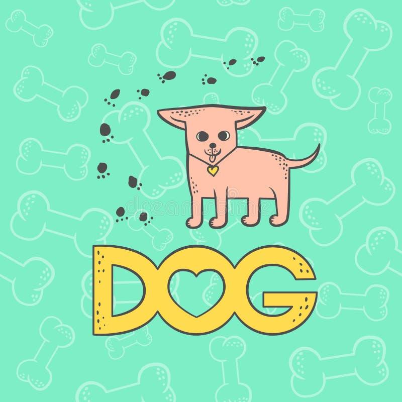Wektorowego chihuahua psa karykatury zwierzęcia śmieszny postać z kreskówki Konturowego płaskiego jaskrawego zwierzęcia domowego  royalty ilustracja