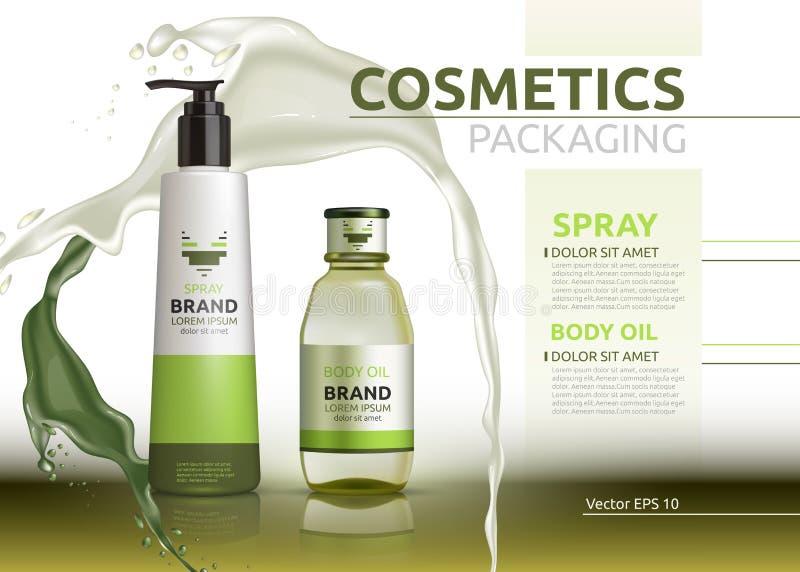 Wektorowego ciało oleju i kiść naturalnych produktów realistyczne butelki Mockup 3D ilustracja Kosmetyczny pakunek reklam szablon ilustracja wektor