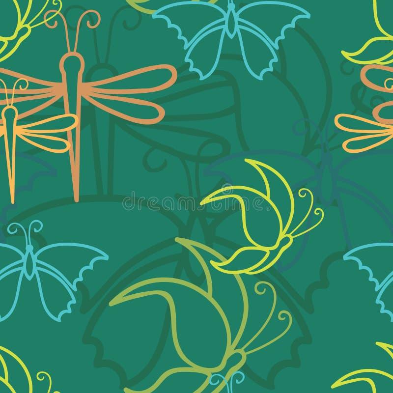 Wektorowego ciemnozielonego motyliego dragonfly bezszwowy deseniowy tło ilustracja wektor