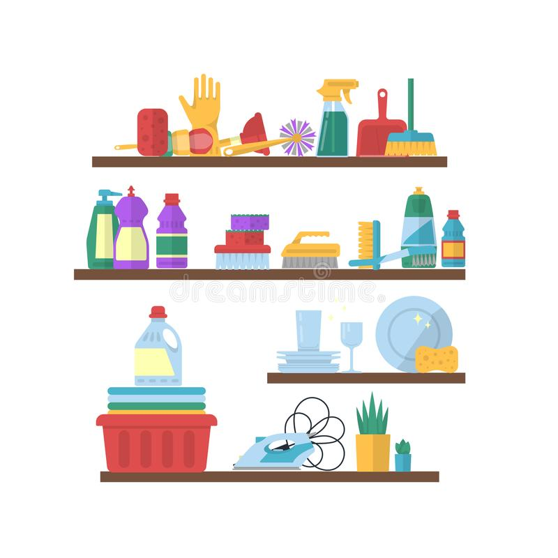 Wektorowego cleaning płascy elementy na półkach ilustracyjnych royalty ilustracja