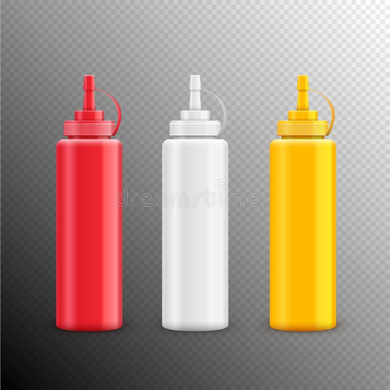 Wektorowego condiment ketchupu majonezowa musztarda odizolowywająca Karmowy smaku składnik Butelki lub zbiornika czerwień biel i  ilustracji