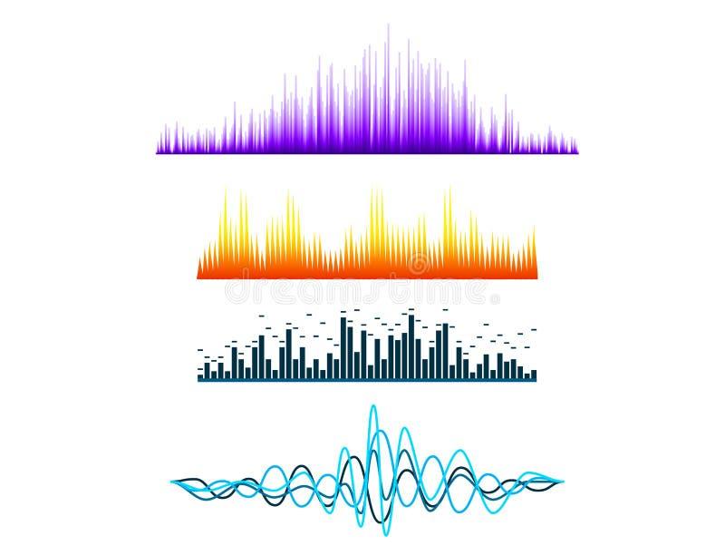 Wektorowego cyfrowego muzycznego wyrównywacza audio fala projektują szablonu audio sygnał ilustracja wektor