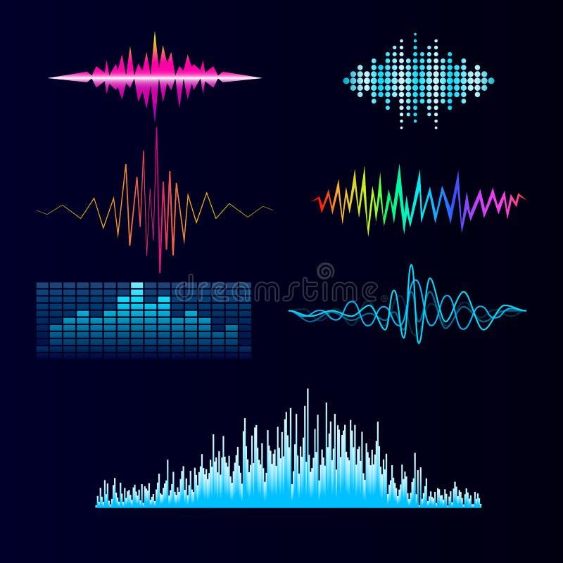 Wektorowego cyfrowego muzycznego wyrównywacza fala projekta szablonu audio sygnału unaocznienia sygnału audio ilustracja ilustracja wektor