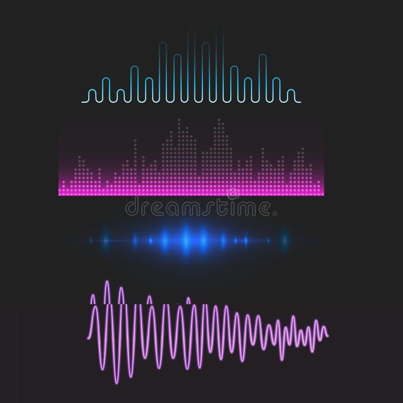 Wektorowego cyfrowego muzycznego wyrównywacza fala projekta szablonu audio sygnału unaocznienia sygnału audio ilustracja ilustracji