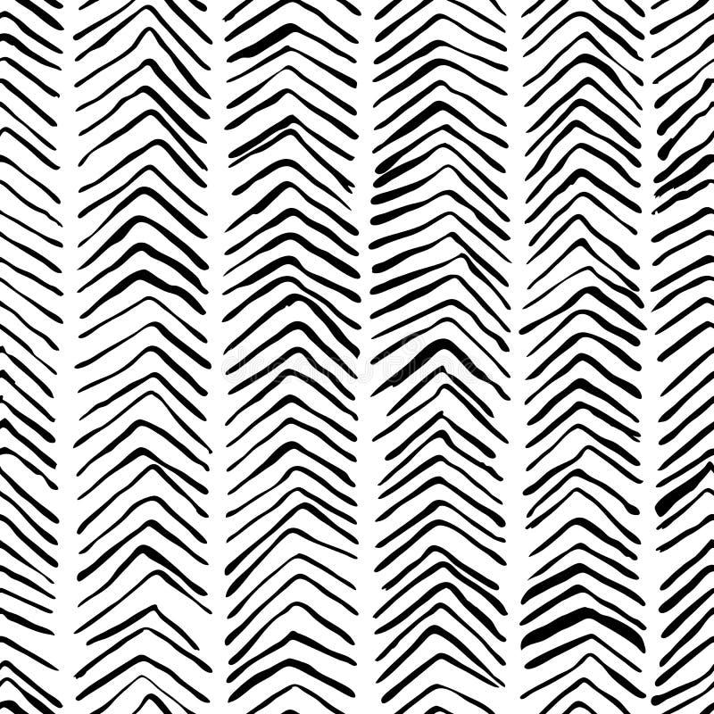 Wektorowego czarnego białego herringbone bezszwowy wzór Akwarela, atramentu tło Skandynawski projekt, moda tekstylny druk ilustracja wektor