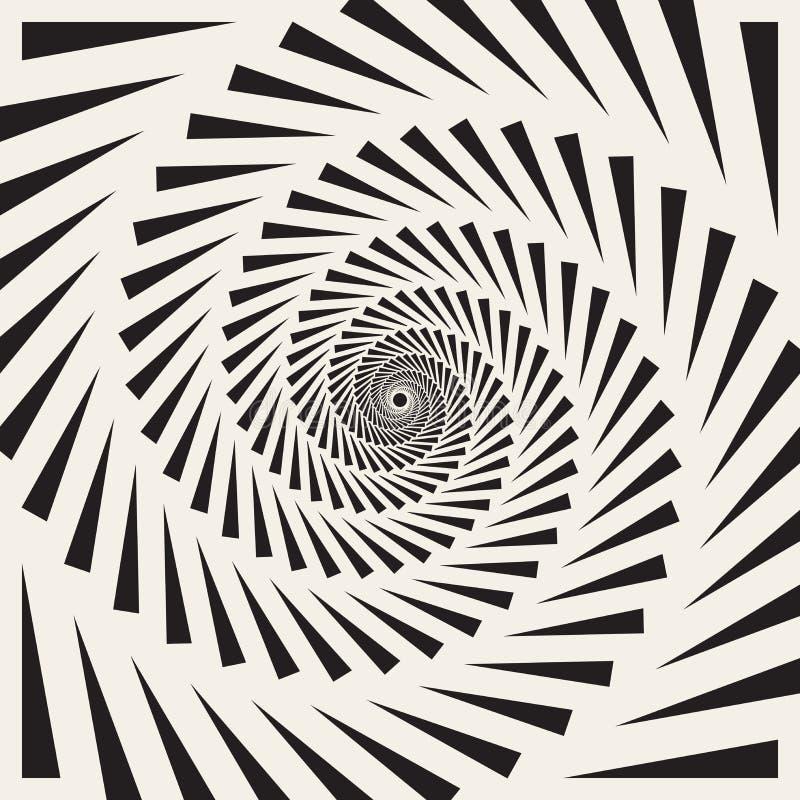 Wektorowego Czarny I Biały Ślimakowatego trójboka zawijasa Abstrakcjonistyczny Okulistyczny złudzenie royalty ilustracja