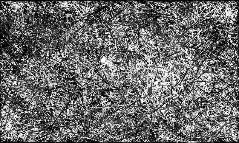 Wektorowego czarny i biały abstrakta grunge porysowany tło royalty ilustracja