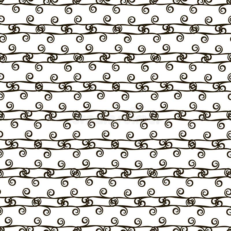 Wektorowego czarny i biały kontrasta monochromatyczny retro bezszwowy wzór czerń paskuje horyzontalne linie z kędziorami royalty ilustracja