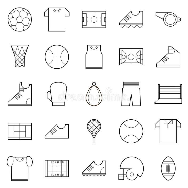 Wektorowego czerni sporta cienkie kreskowe ikony ustawiać ilustracji