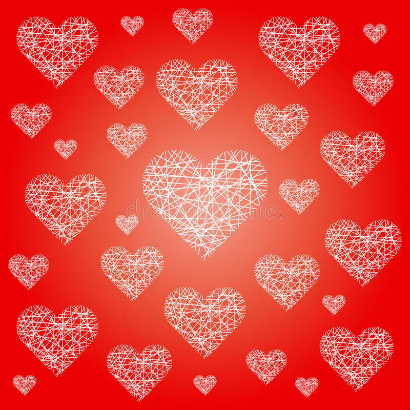 Wektorowego czerwonego valentine świąteczny deseniowy tło z nieregularnymi białymi szkicowymi sercami ilustracji