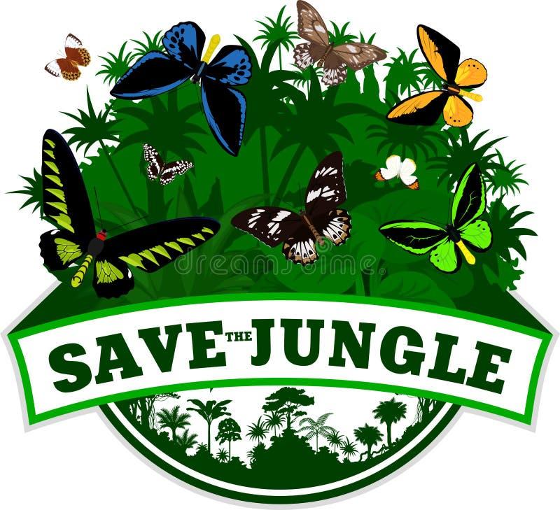 Wektorowego dżungla emblemata withbirdwing motyle ilustracja wektor