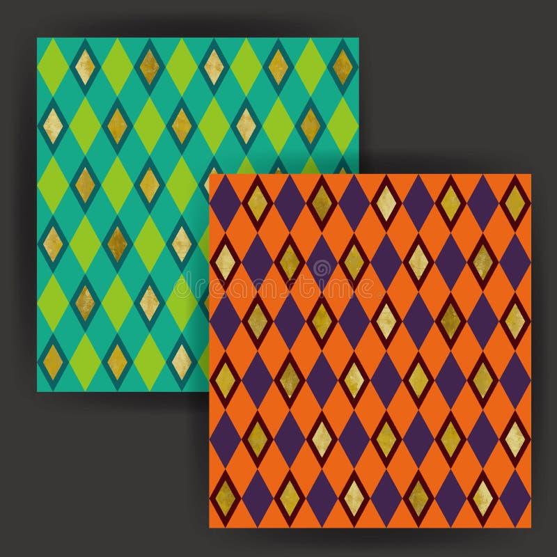 Wektorowego Diamentowego kształta Bezszwowy wzór z Złocistej folii znaczka skutkiem zdjęcia stock